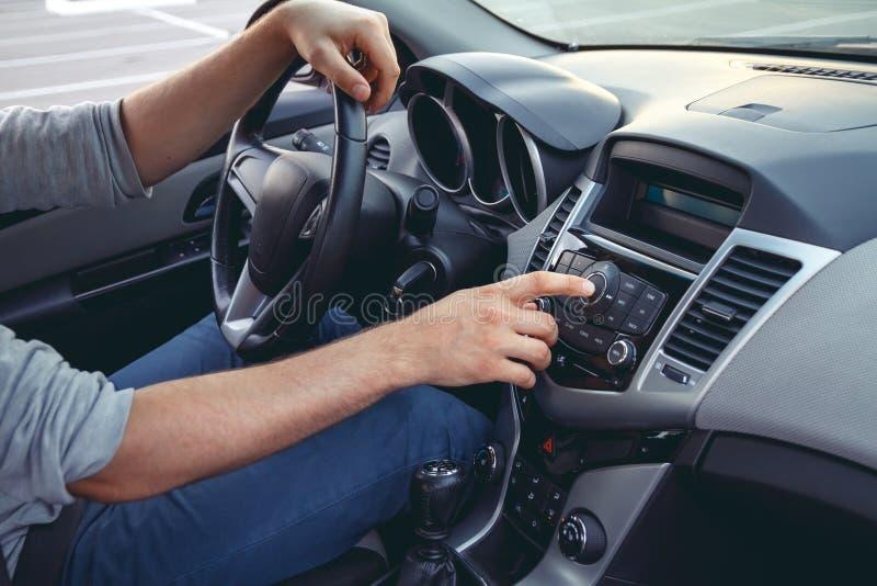 Car dashboard. Radio closeup stock photo