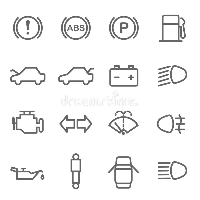 Car Dashboard Vector Line Icon Set. Contains such Icons as Parking, ABS, Battery, Engine, Mechanic and more. Expanded Stroke stock illustration