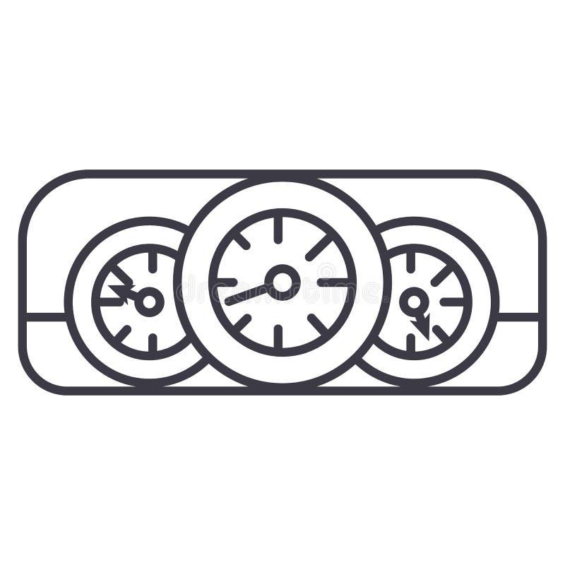 Car dashboard vector line icon, sign, illustration on background, editable strokes stock illustration