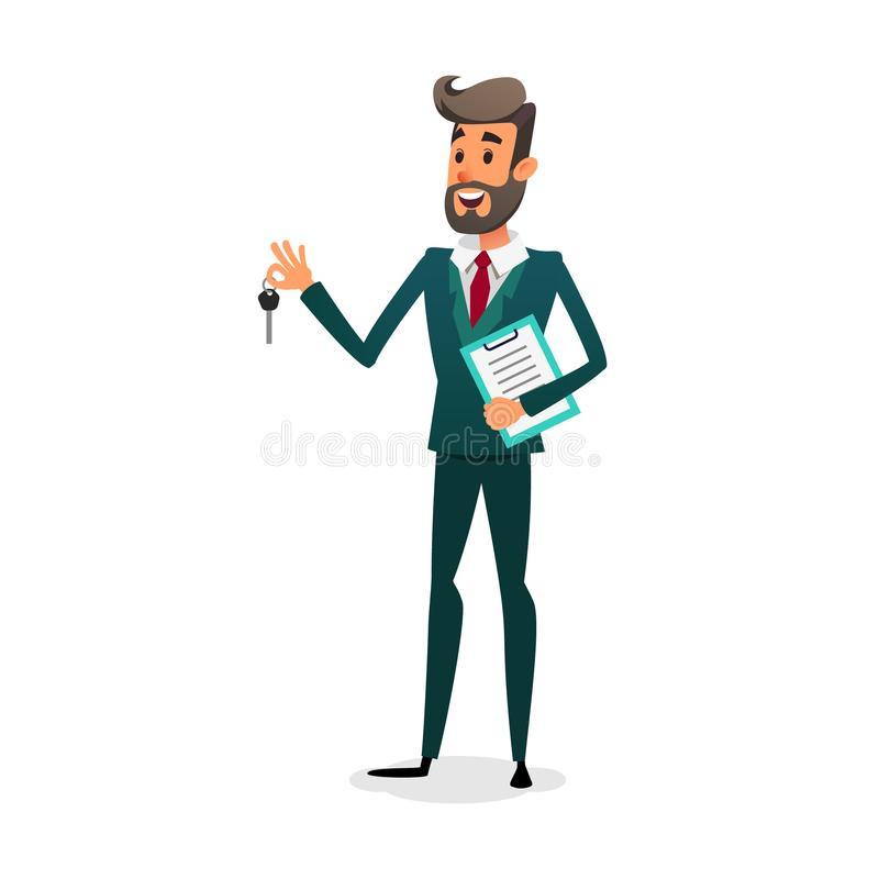 The car dealer gives the keys. Happy auto seller with documents. A cartoon confident young salesman is selling a car. The automobile owner makes a deal. Man stock illustration