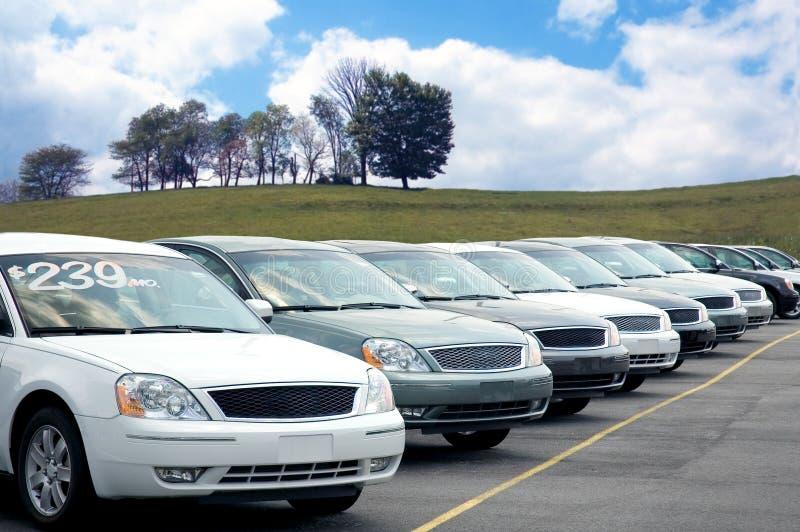 Car Dealer lot. Car dealers lot full of sedans for sale royalty free stock photography