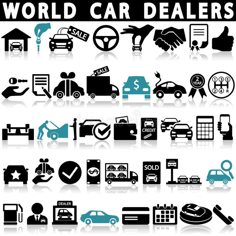 Car dealership icons set vector illustration