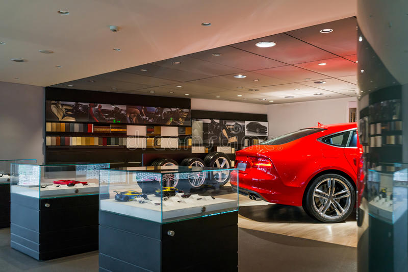 Car dealership showroom royalty free stock photography