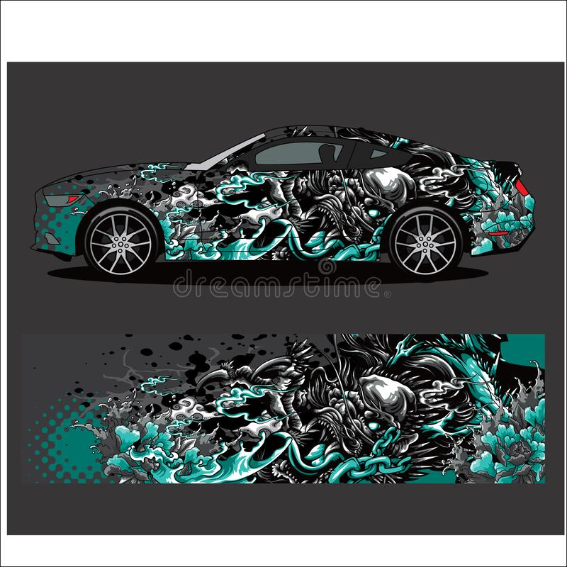 Car decal vector, Dragon tattoos style abstract. Car decal vector, nDragon tattoos style abstract designs for vehicle Sticker vinyl wrap stock illustration