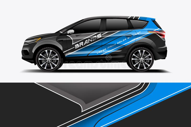 Car decal wrap design vector. Graphic abstract stripe racing background kit designs for vehicle, race car, rally, adventure and livery - Vector stock illustration