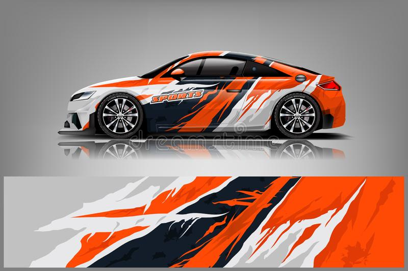 Car decal wrap design vector. Graphic abstract stripe racing background kit designs for adventure and li. Car decal wrap design vector. Graphic abstract stripe royalty free illustration