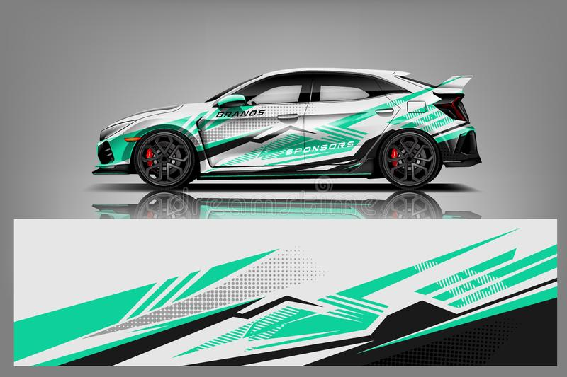Car decal wrap design vector. Graphic abstract stripe racing background kit designs for vehicle, race car, rally, adventure and li. Very - Vector stock illustration
