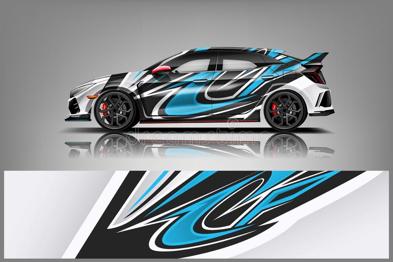 Car decal wrap design vector. Graphic abstract stripe racing background kit designs for vehicle, race car, rally, adventure and livery - Vector royalty free illustration