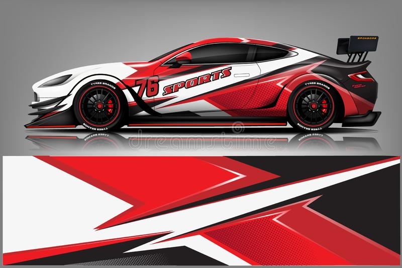 Car decal wrap design vector. Graphic abstract stripe racing background kit designs for vehicle, race car, rally, adventure and li. Very - Vector vector illustration