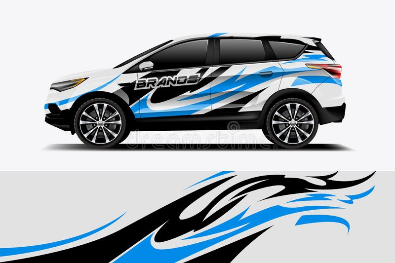 Car decal wrap design vector. Graphic abstract stripe racing background kit designs for vehicle, race car, rally, adventure and livery - Vector vector illustration