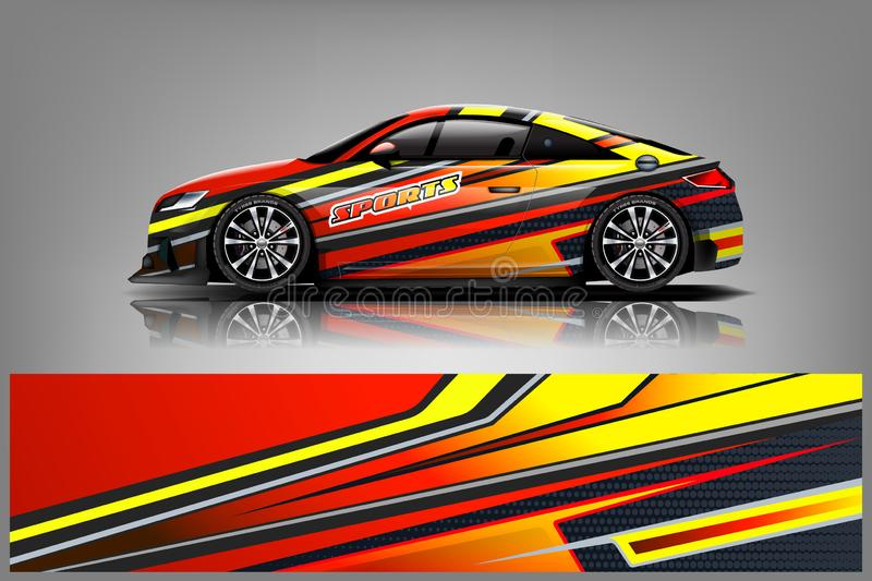Car decal wrap design vector. Graphic abstract stripe racing background kit designs for vehicle, race car, rally, adventure and li. Very - Vector royalty free illustration