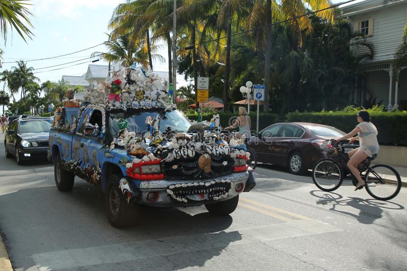 Car decorated with shells in Key West, Florida, USA. KEY WEST, FLORIDA - MAY 29, 2016: Car decorated with shells in Key West, Florida, USA. Key West is an island stock images