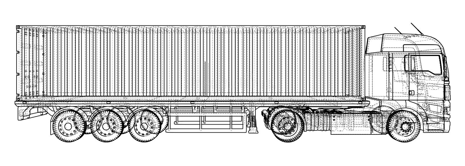 Car delivery semi truck trailer wire frame eps10 format vector download car delivery semi truck trailer wire frame eps10 format vector rendering malvernweather Image collections