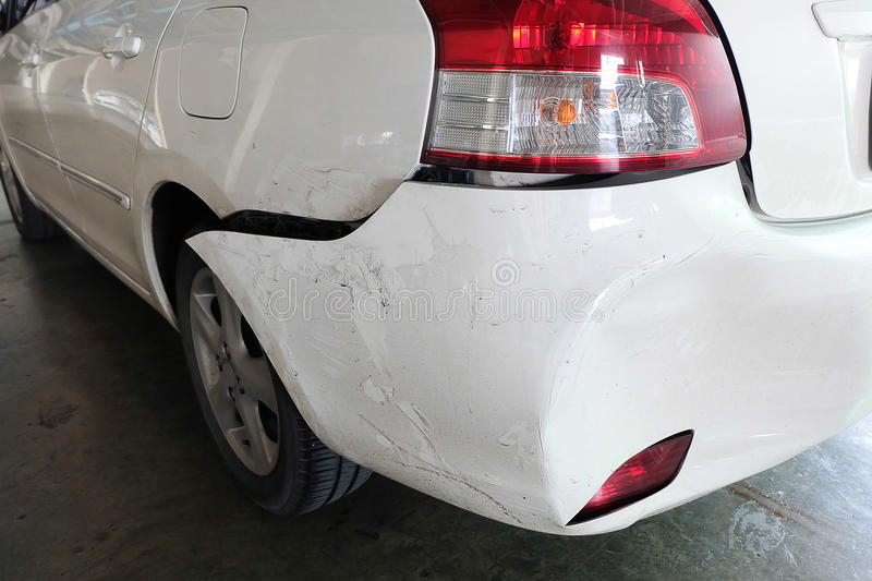 Car dented after accident royalty free stock images