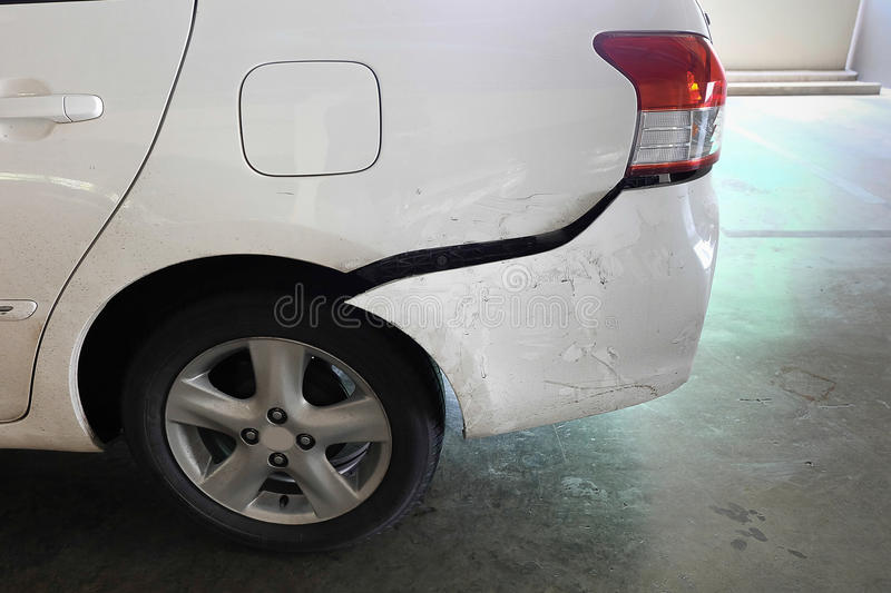Car dented after accident stock photo