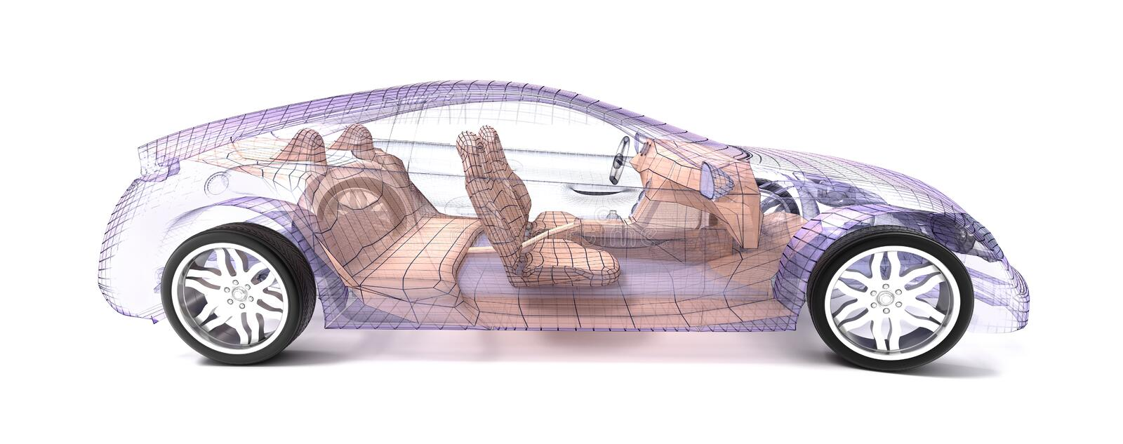 Car design, wire model. vector illustration