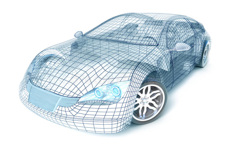 Car design, wire model. My own design. vector illustration