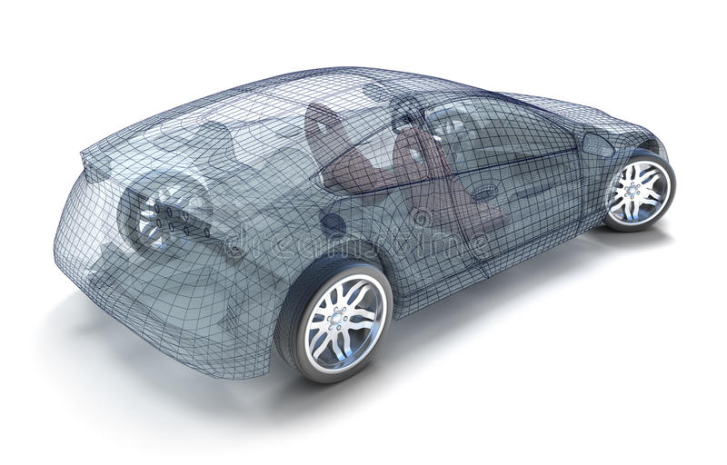 Car design, wireframe model royalty free illustration