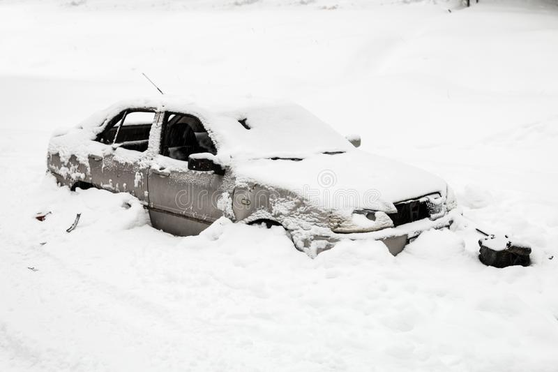 The car was hit by an avalanche royalty free stock photography