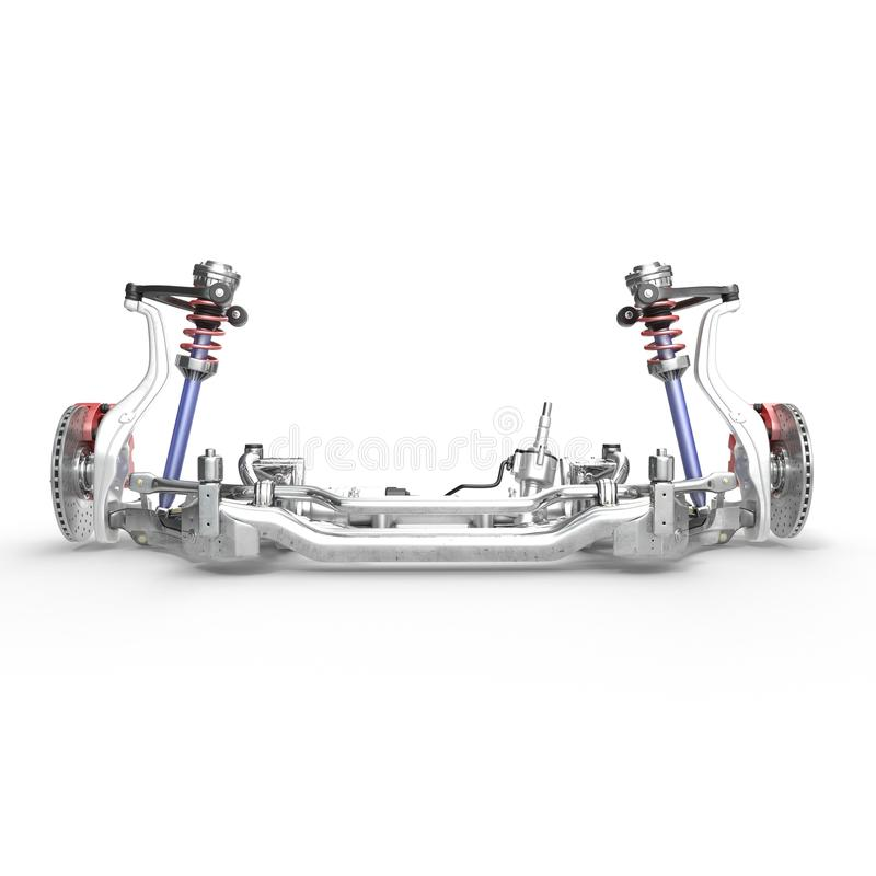 Car disc brake with red caliper, and front suspension on white. 3D illustration stock illustration