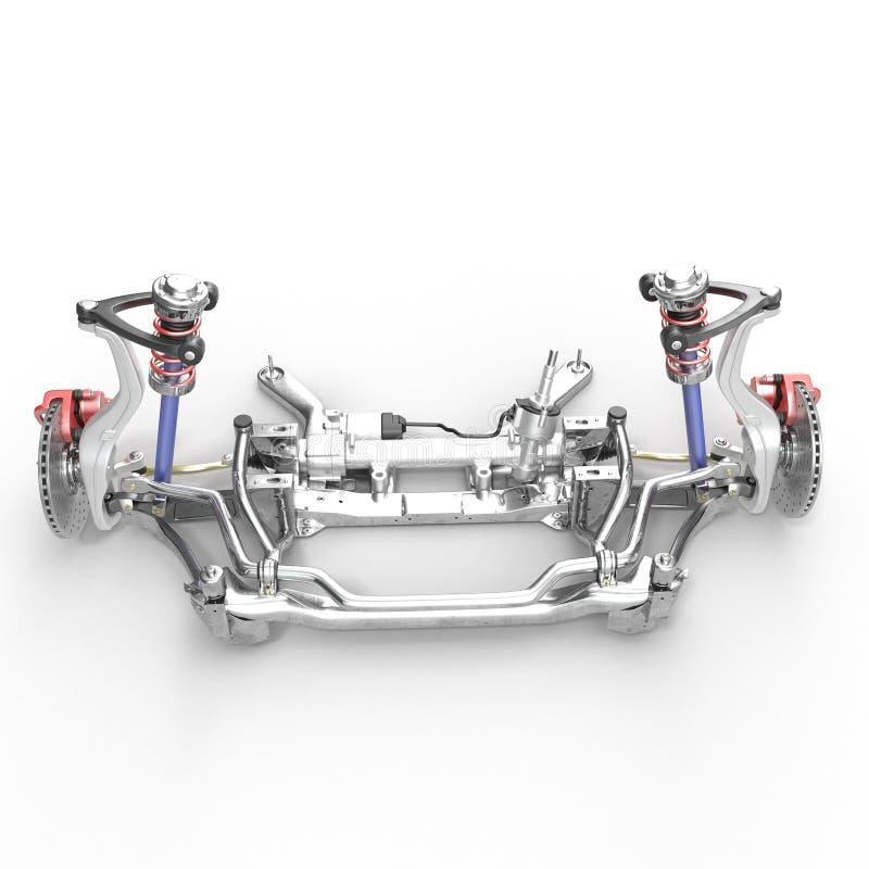 Car disc brake with red caliper, and front suspension on white. 3D illustration. Car disc brake with red caliper, and front suspension on white background. 3D stock illustration