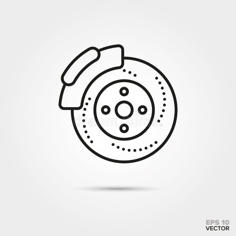 Disc brake vector icon. Car disc brake vector icon. Automotive parts, repair and service symbol vector illustration