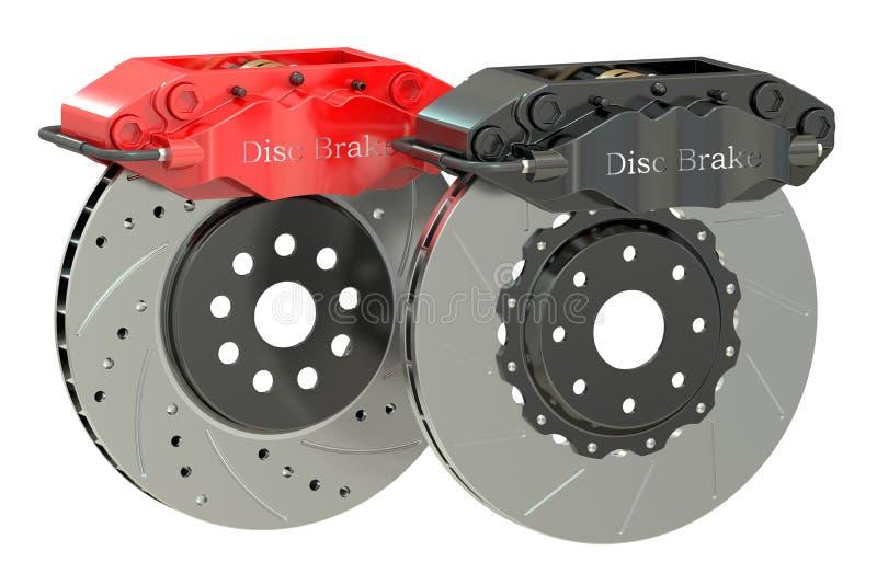 Car discs brake and caliper. 3D rendering on white background stock illustration