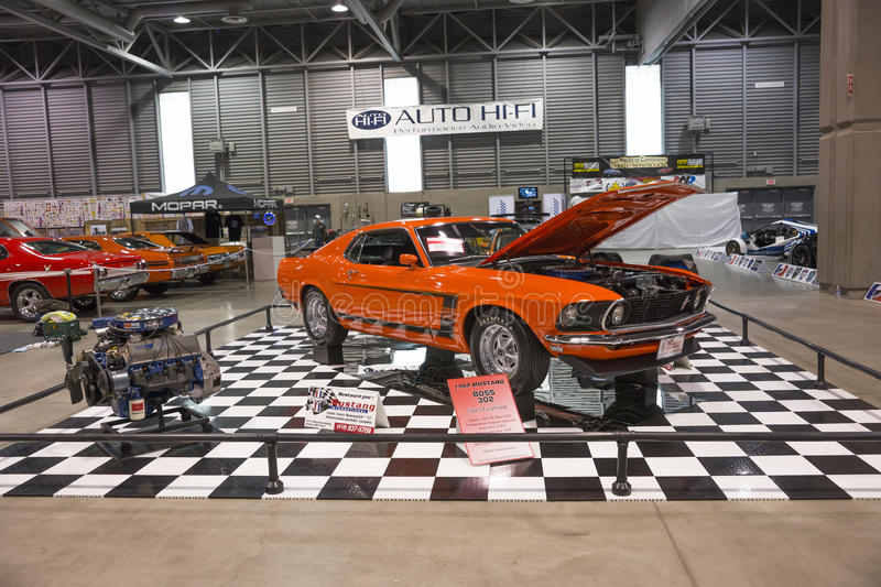 Car display. Picture of display of the 1969 mustang boss 302 at the international show car association 2013. Isca show car 2013 at quebec, canada royalty free stock images