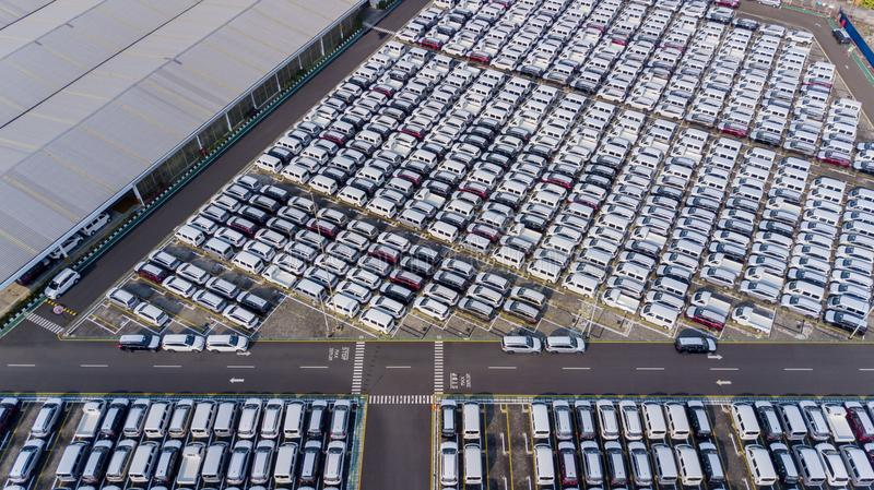 Car distribution center with row new cars stock images