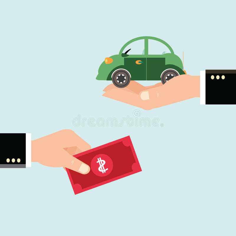 Car and dollar notes sitting on his hand. stock illustration