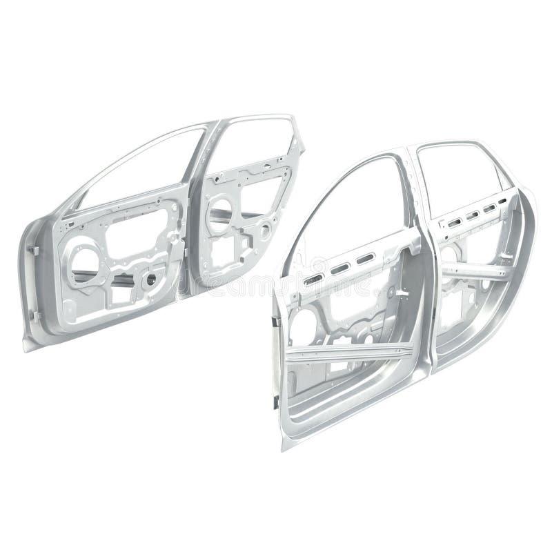 Free Car Door Frames Set On White. 3D Illustration Stock Photo - 81264830