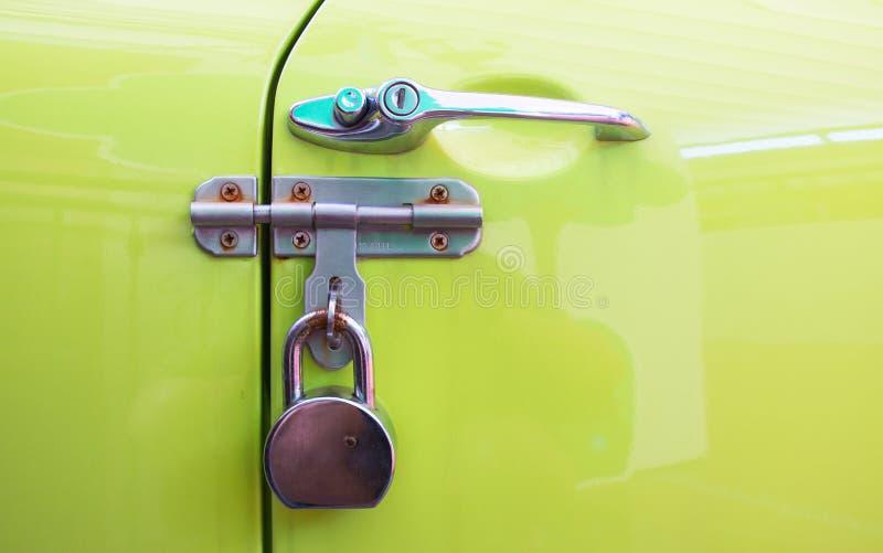 Car door handle color metal lock,security protection padlock stock photography