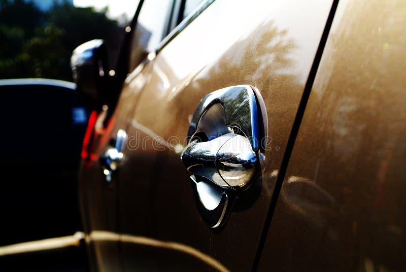 Car door handle. Sliver door handle in limousine stock images