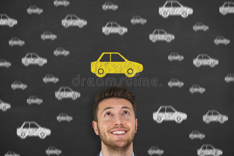 Car Drawing on Chalkboard. Working Conceptual Concept stock images