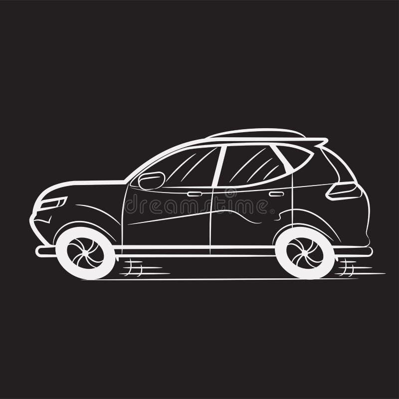 Car Drawn White Lines on Black School Blackboard. Icon. Sketch. Symbol. Sign. Stock Vector Illustration royalty free illustration