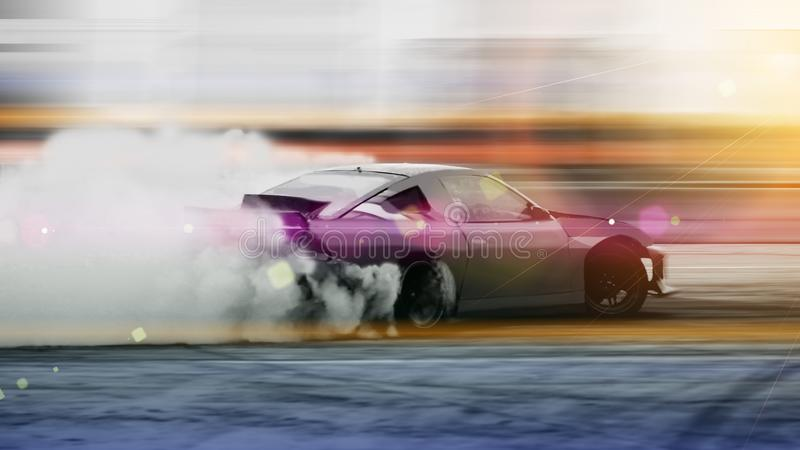 Car drifting, Blurred of image diffusion race drift car with lot. S of smoke from burning tires on speed track royalty free stock images