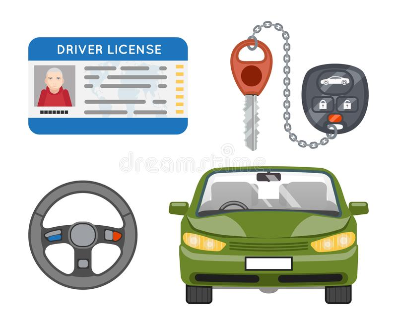 Car driver license isolated icons set identification photo keys weel flat design vector illustration. Car driver license isolated icons set photo identification stock illustration