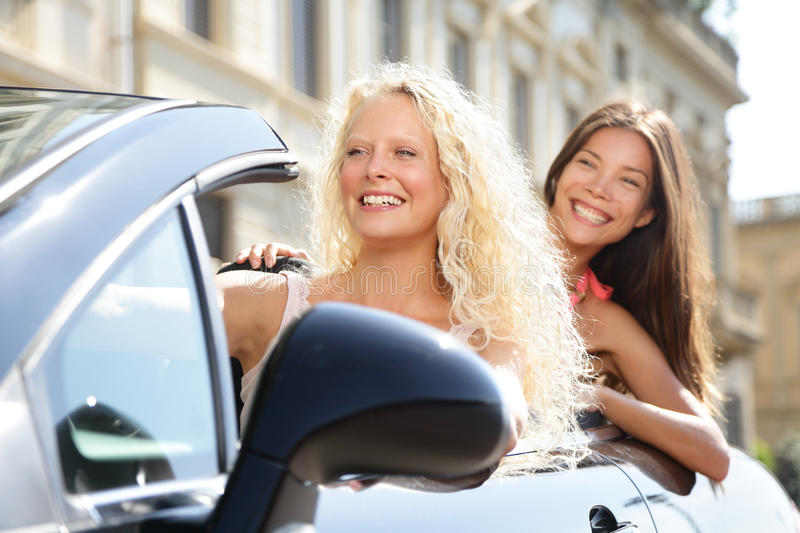 Car driver woman driving with girl friends royalty free stock images