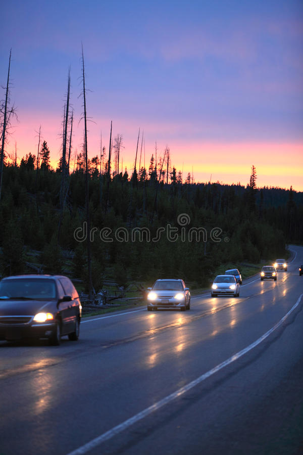 Download Car driving at dusk stock photo. Image of auto, light - 14594962