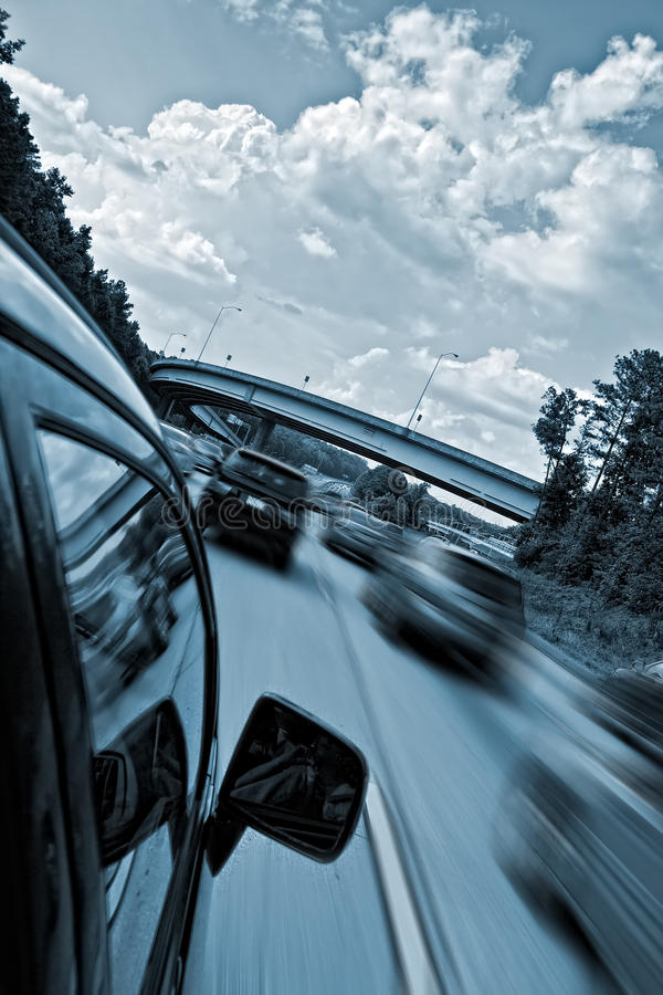 Car driving fast. On highway royalty free stock photos
