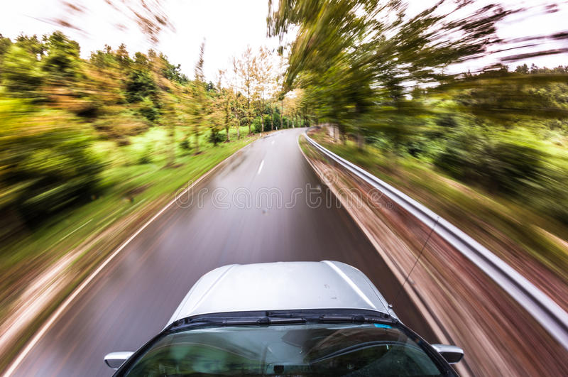 Car driving fast, fisheye photo. Car driving fast, POV photo stock photography