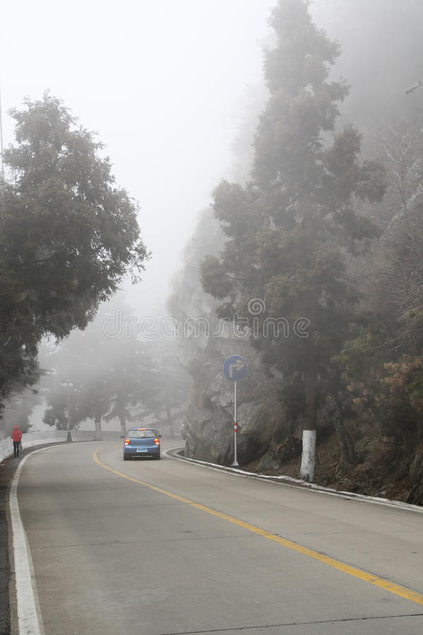 Download Car Driving In Heavy Fog Royalty Free Stock Photography - Image: 18315537