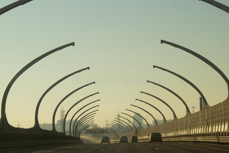 Car driving on a highway. auto moving on a roadway stock photography