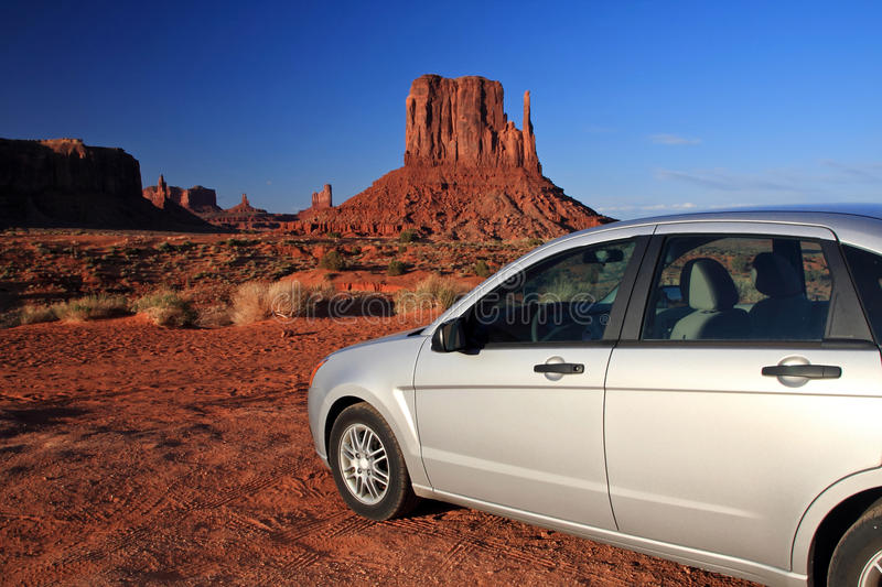 Car driving in Monument Valley stock images