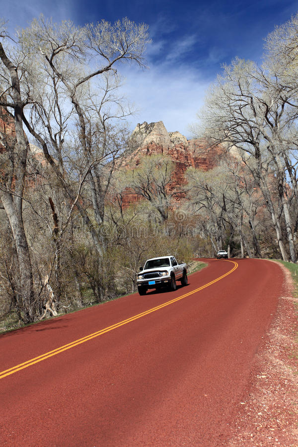 Car driving on road. Through the zion national park royalty free stock photography