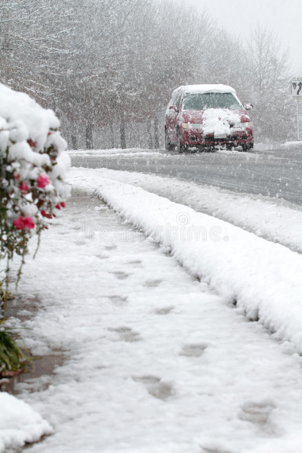 Download Car Driving In Snow, Winter Street Stock Image - Image: 12133131