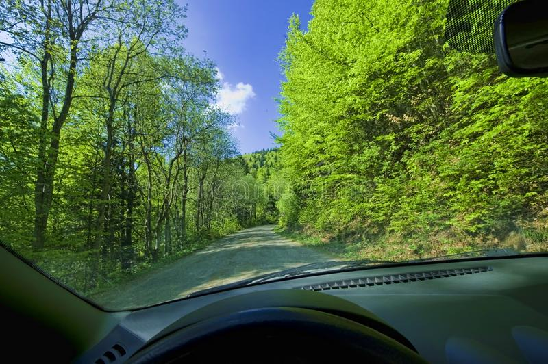 Car driving in spring forest. Car driving in spring landscape stock photography