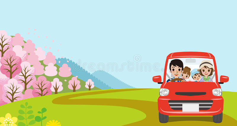 Car Driving in Spring nature, Young Family - Front view royalty free illustration