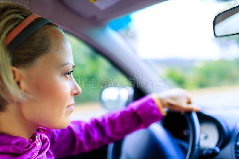 Car driving woman royalty free stock photos