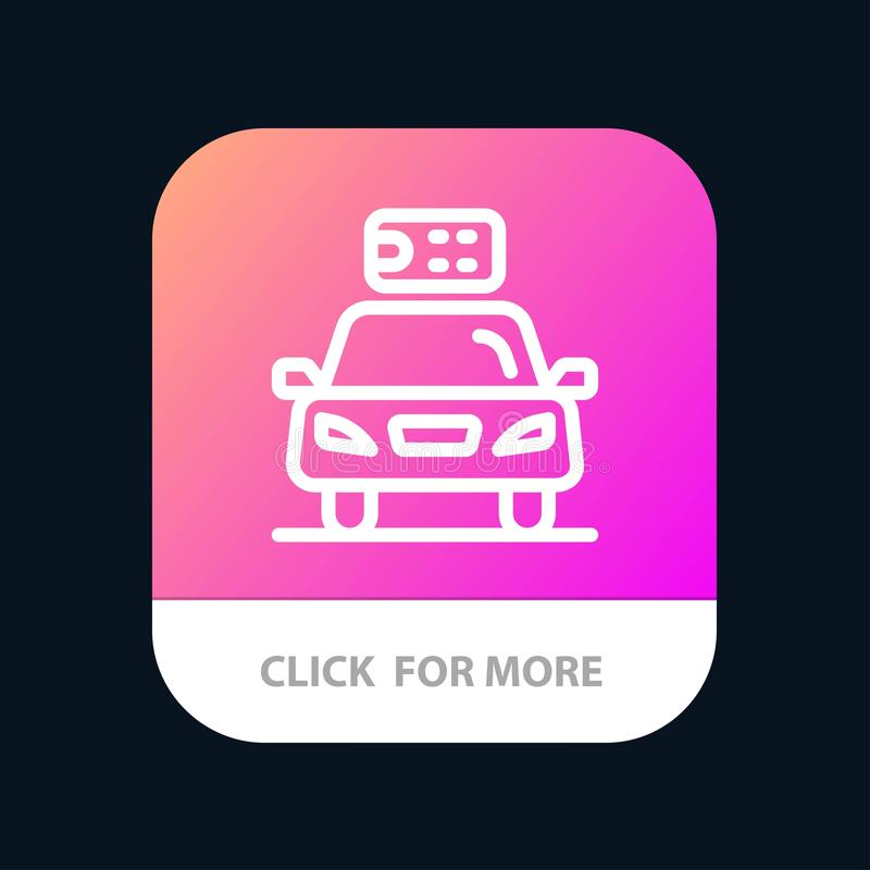 Car, Ecology, Electric, Energy, Power Mobile App Button. Android and IOS Line Version royalty free illustration